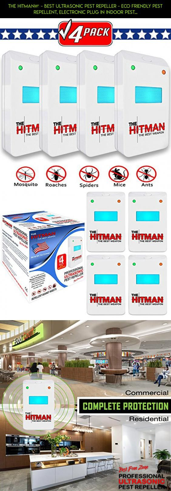 THE HITMAN® - Best Ultrasonic Pest Repeller - Eco Friendly Pest Repellent, Electronic Plug In Indoor Pest Control, Insects Cockroach Rodents Flies Roaches Ants Spiders Fleas Mice Bugs Rats Mosquitos #camera #plans #parts #products #tech #shopping #drone #racing #device #storage #fpv #kit #i #gadgets #technology