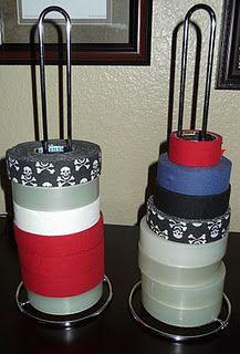 "A Hockey Mom's Dream!!! A paper towel holder turned into a Hockey Tape holder....No more will I ever hear, ""Mom, where's some tape?""!"