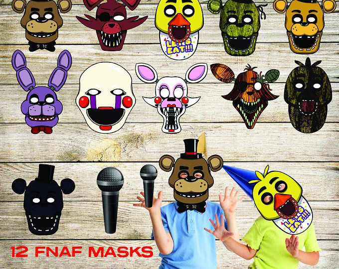 FIVE NIGHTS AT FREDDYS THEMED MASK PROP SET PRINTABLE INSTANT DOWNLOAD! The Five Nights At Freddys themed Mask Prop Set is sure to please any FNAF super fan! Includes everything you need for your photo booth (10 masks and four bonus props)! Or, use as party favors, for Halloween costume, room decorations, or just for fun. Set Includes 10 Masks: - Freddy Mask - Golden Freddy Mask - Chica Mask - Foxy Mask - Bonnie Mask - The Puppet Mask - Mangle Mask - Springtrap Mask - Toy Bonnie Mask…