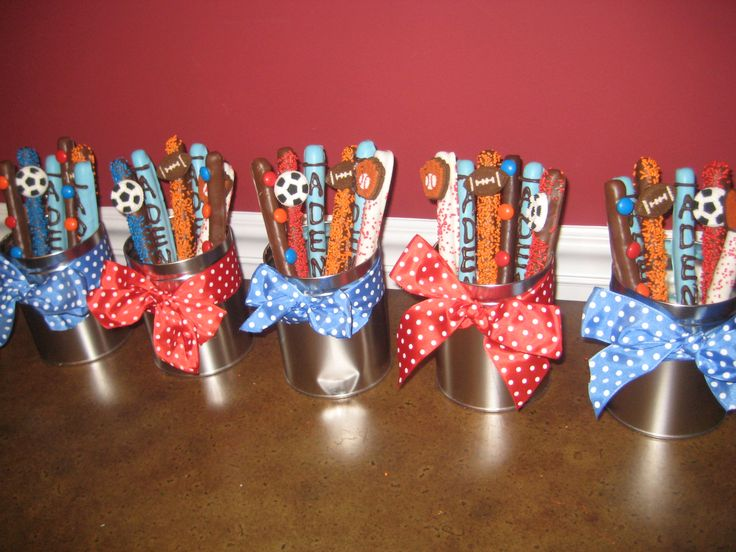 Baseball pretzel sticks baseball pinterest sporty for Athletic banquet decoration ideas