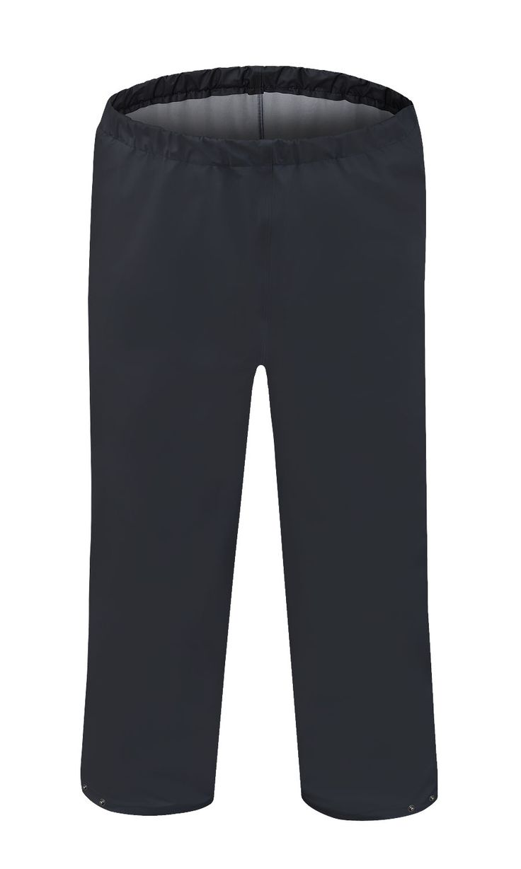 WATERPROOF WAIST TROUSERS Model: 083 The trousers have elaticated waist and press studded ankles. The model is made of light waterproof and breathable fabric called Aquapros and it has been designed to be used at unfavorable weather conditions. Thanks to double welded high frequency seams the product protects against rain and wind. The trousers conforms to EN ISO 13688 and EN 343 standards.