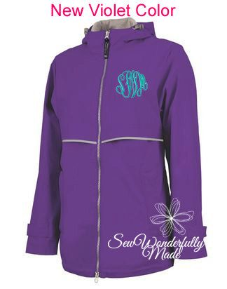 Violet Rain Jacket - New Color Violet Charles River Rain Coat - Women's Rain Coat - Monogrammed Full Zip Charles River Rain Jacket - Purple by SewWonderfullyMade4U on Etsy