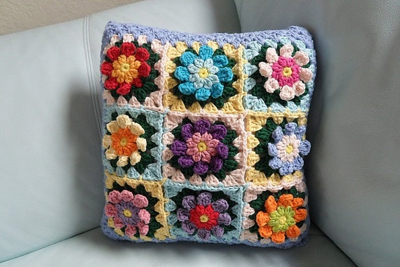 Blue Colorful Flowers Cushion Cover by andSAILOR on Etsy, $35.00