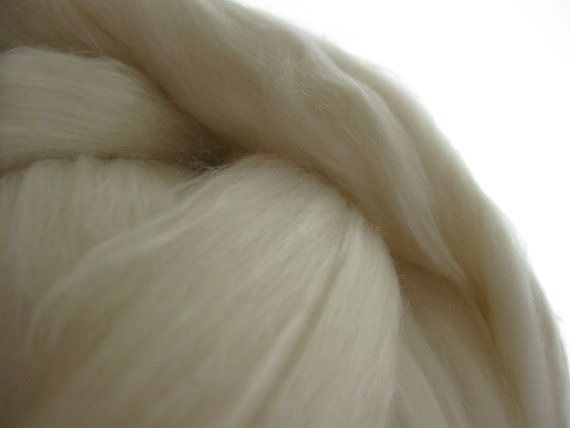 Cormo Wool/Silk Blend Combed Carded Top Undyed 100g by msgusset, $25.00