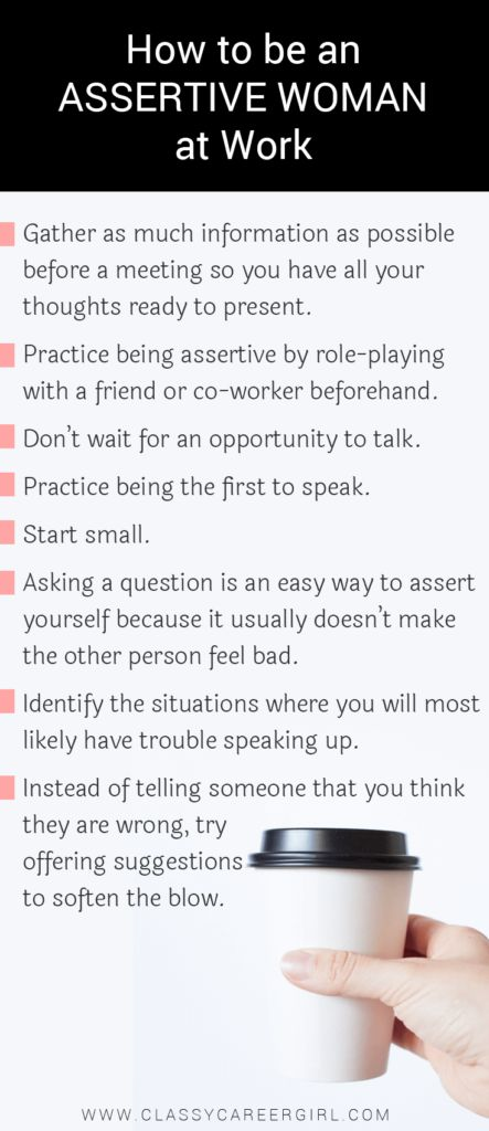 How to be an Assertive Woman at Work list