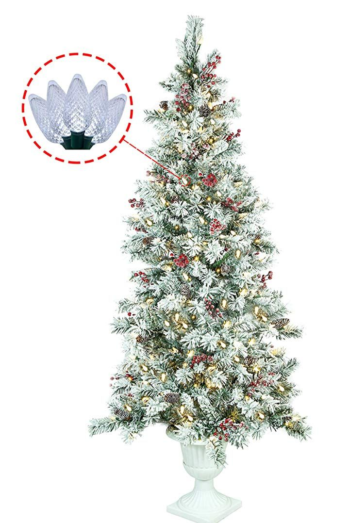 Abusa Prelit Potted Pencil Christmas Tree 6 5 Feet With Pine Cones Red Berries 200 Led Lig Pre Lit Christmas Tree Pencil Christmas Tree Flocked Christmas Trees