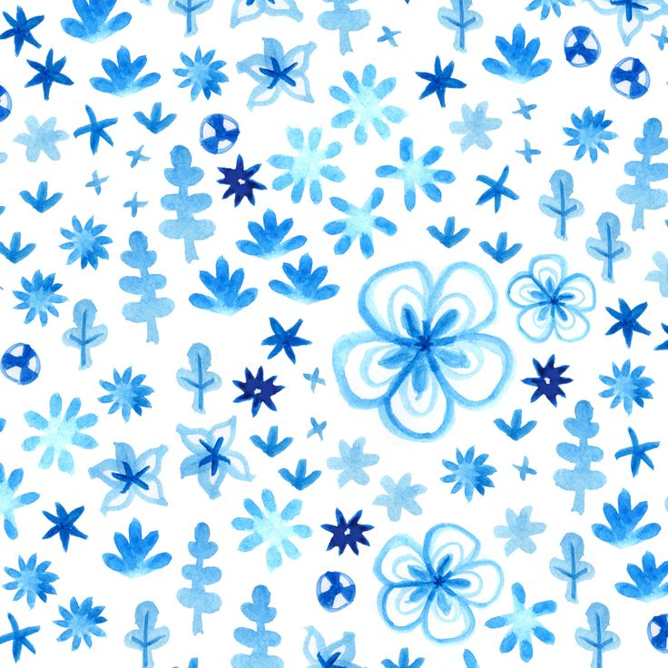 Blue & white floral pattern - watercolour by Laurence Lavallée aka Flo