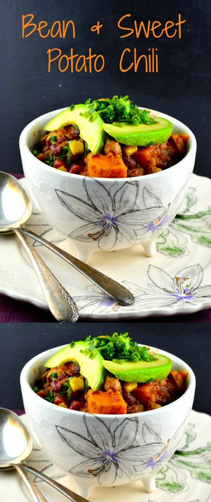 3 Bean & Sweet Potato Chili, a complete meal in one bowl, garbanzo, black and kidney beans in a flavorful sweet potato chili. Ready in less that an hour. via @ourpassion4food