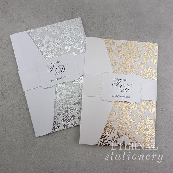 Gold and silver foil stamped damask pocket Wedding Invitation Created by Eternal Stationery www.eternalstationery.com.au