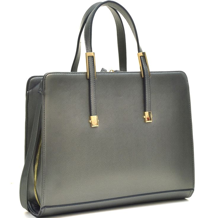Beautiful Faux Leather Briefcase. Simple and elegant. Full zipper access. Pewter color. Gold Accents.