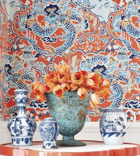 by Thibaut 'Imperial Dragon ' by Thibaut is a classical beauty with intricate detailing taken from antique documents from the Far East.  click here if you wish to order samples  extra wide roll offers excellent value pattern repeat - 36 in roll 27 in wide, 27 ft long coverage 60 sq. ft.