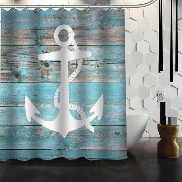 Wood Plank W Anchor Shower Curtains Anchor Shower Curtains