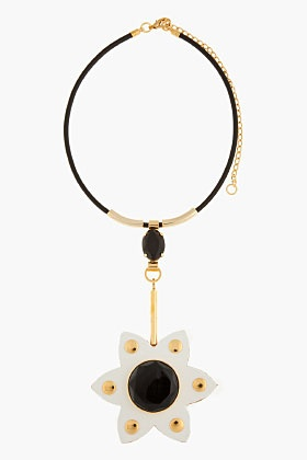 MARNI White and black Leather flower Necklace