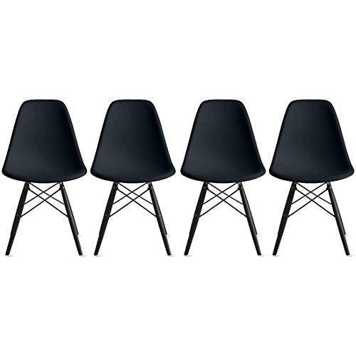 Side-Chair-Eames-Set-4-Black-Seat-Black-Dark-Wood-Wooden-Legs-Molded-Plastic-New