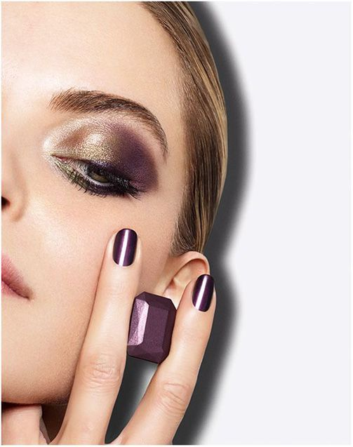 Lancome French Idole Fall 2014 Collection. Gold, purple and olive green.