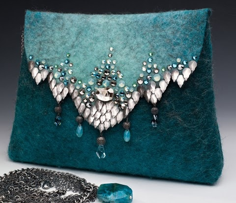 Beautiful felted and beaded bag