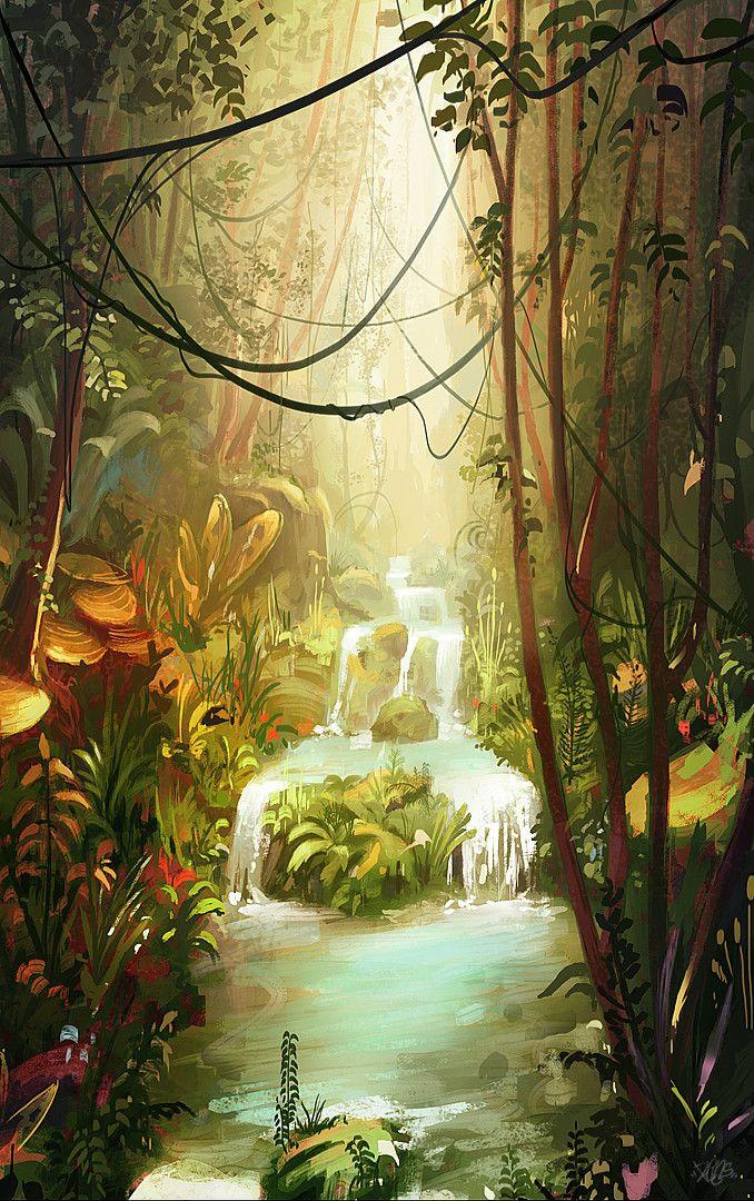 Waterfall, Renaud Perochon on ArtStation at https://www.artstation.com/artwork/D9m6E