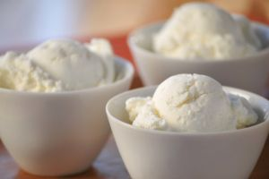 image of delicious vanilla ice cream. very shallow depth of field