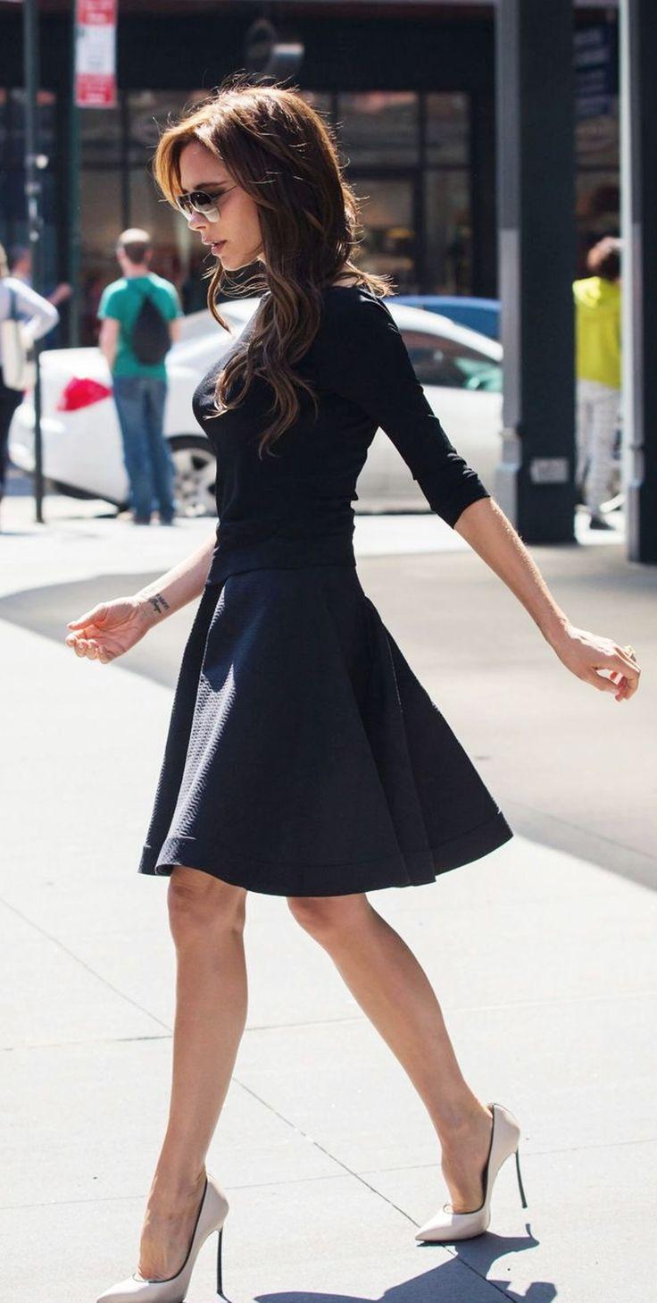 High neck A-line dress and stilettos... Gorgeous combination (thank you Victoria Beckham)