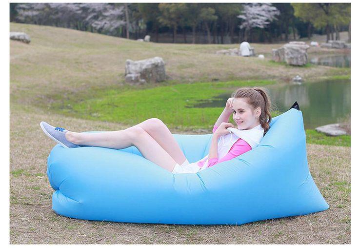 A new generation of lazy bad Beach Portable Outdoor Inflatable Bone Furniture Sofa Hammock Sleeping Camping Air Bed Nylon