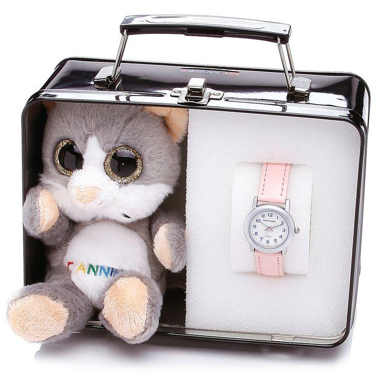 """Cannibal Gift Set Meisjes Horloge Spaarpot & Knuffel 'Kitty"""" CJ246-14S"""