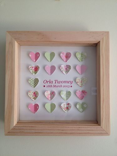 Personalised 3d baby boy/girl picture, stars hearts butterflies dinosaurs cars