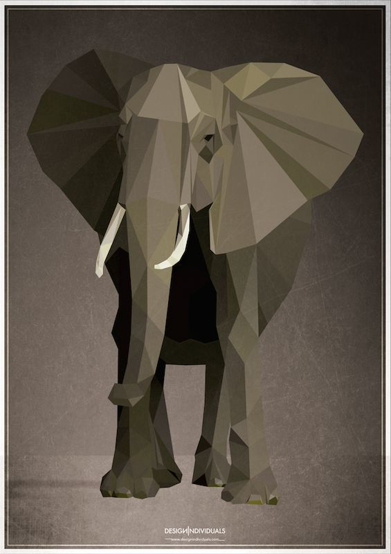 Low poly Elephant.  You know we love getting inspired by the basic geometrical shapes. We have been experimenting with triangulation techniques for quite some time now. Our low poly elephant is inspired by Africa, using triangulated meshes and love for illustration! Please visit www.designindividuals.com