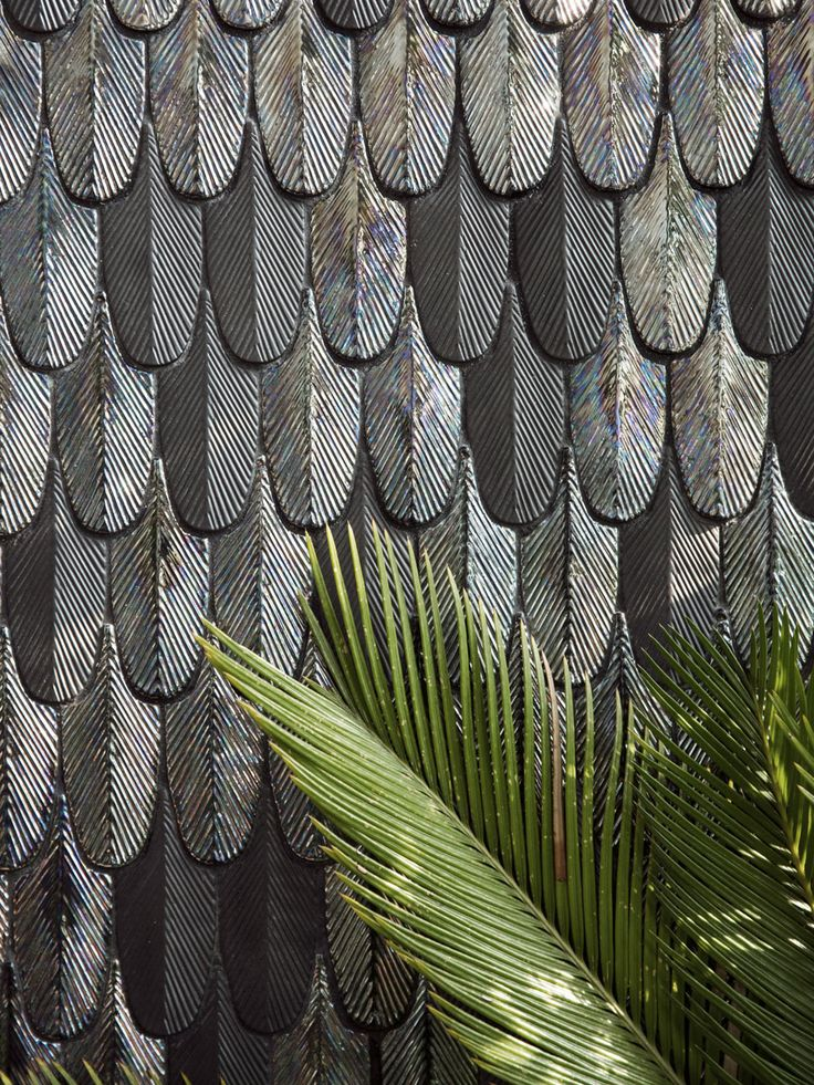 Feather mosaic tiles by BottegaNove.