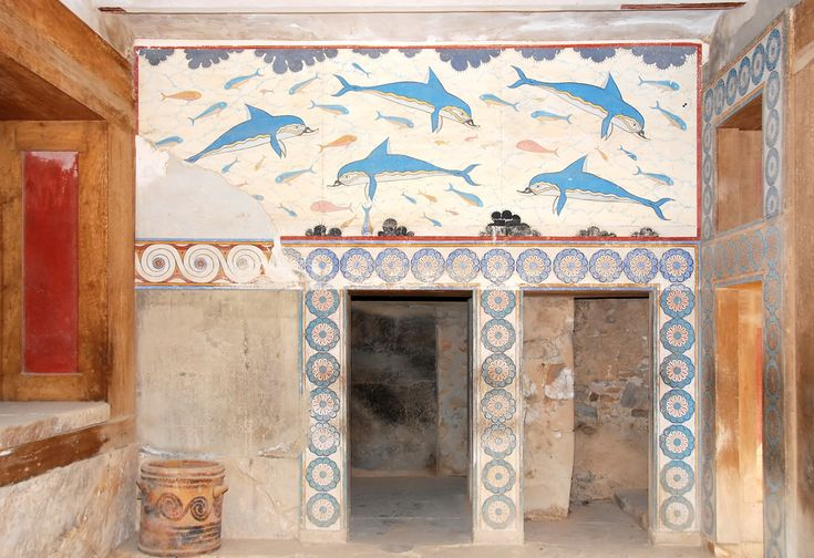 The queens megaron at the Palace of Knossos features a reconstructed fresco depicting blue dolphins swimming above a doorway.br /