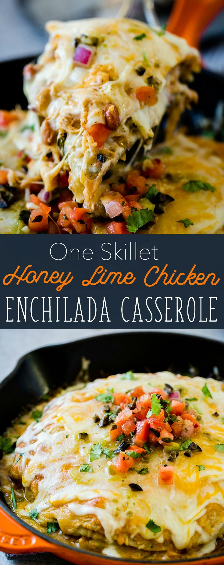 So you loved our One Skillet Enchilada Casserole? Us too. That's why today we are bringing you a lighter One Skillet Honey Lime Chicken Enchiladas Casserole. via @ohsweetbasil