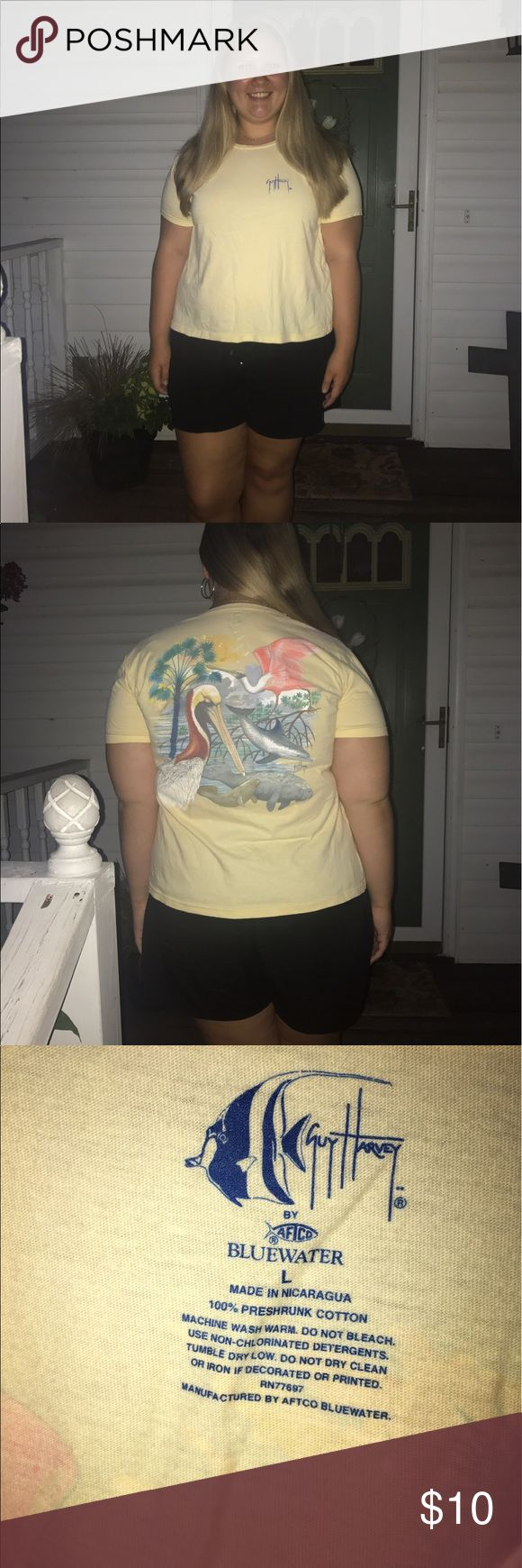 Yellow Guy Harvey shirt size L Thin material with cute illustration on the back, size L Guy Harvey Tops Tees - Short Sleeve
