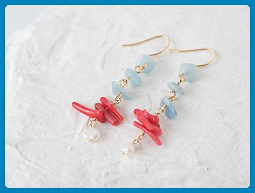 Blue Aquamarine Red Coral Mixed Drop Dangle Earrings - Wedding earings (*Amazon Partner-Link)