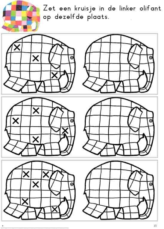 Lògica amb l'Elmer. Pintar el quadret marcat amb una x del color del model