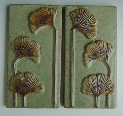 2 art nouveau arts and crafts style tiles ginkgo leaves for Arts and crafts style prints