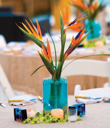 Hawaiian Wedding Reception Ideas: Birds Of Paradise Simple Centerpiece Add Some Large