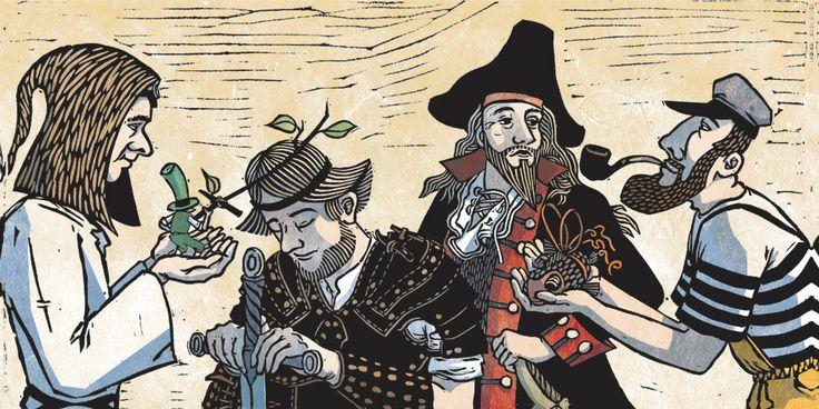 linocut/digital colors illustration for the celtic band Oubéret
