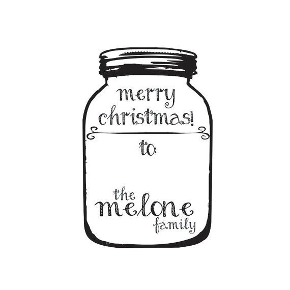 DIY Holiday Mason Jar Gift Tag Rubber Stamp Self-inking.