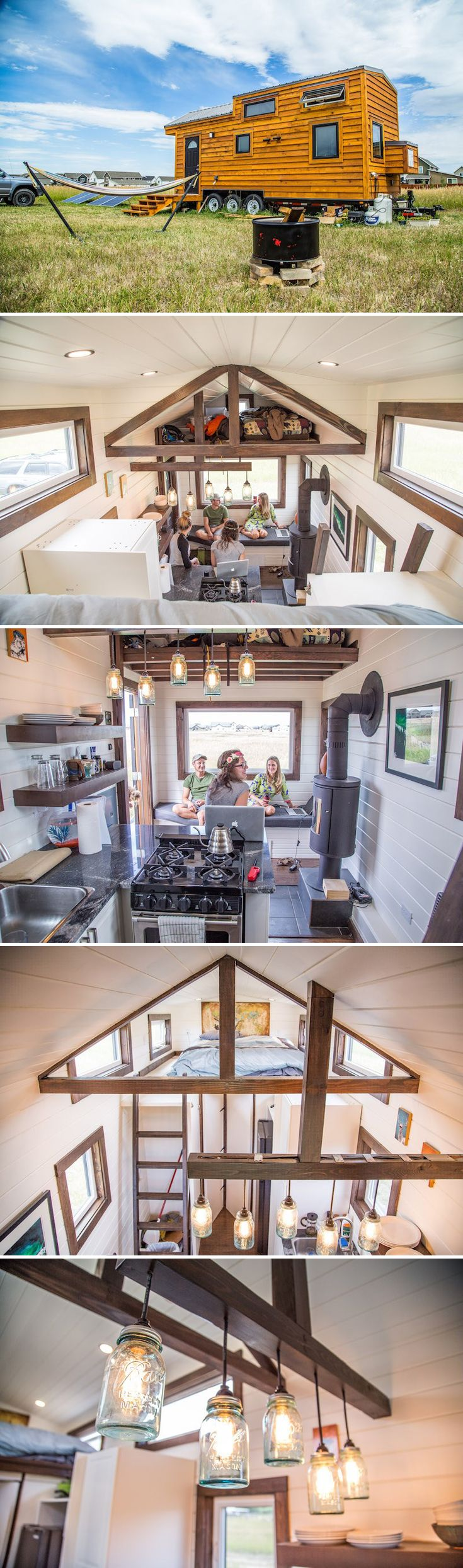 This 280-square-foot tiny house is ready for off-grid living with its solar panel system, 50-gallon fresh water tank, propane appliances, and a composting toilet.