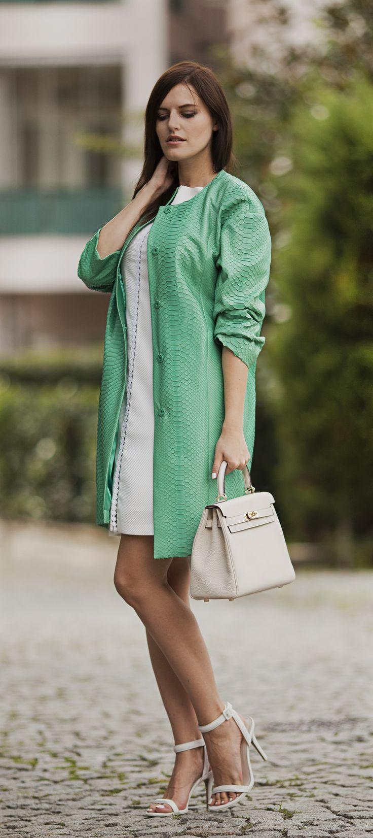 Python leather mint green trench-coat by #ADAMOFUR #luxury #shopping #Istanbul #style #inspiration #elegant #pastel #leather #chic