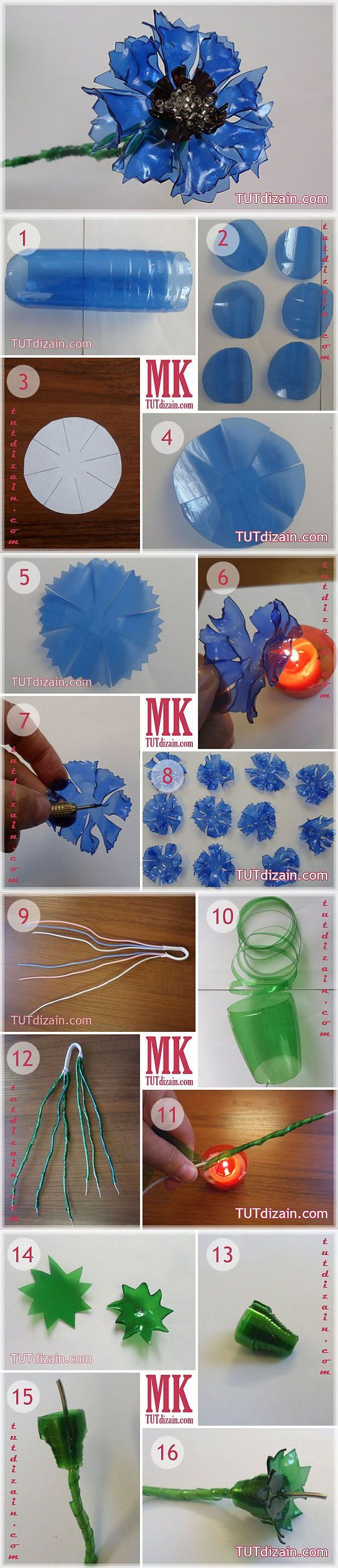 "Cornflowers from plastic bottles ""Planet of needlework - step by step pics"