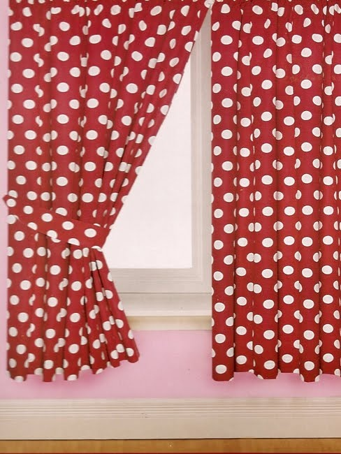 Red polka dot curtains