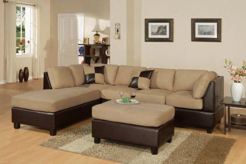 Bobkona 3 Seat Sofa Sectional w/ Ottoman (Saddle)