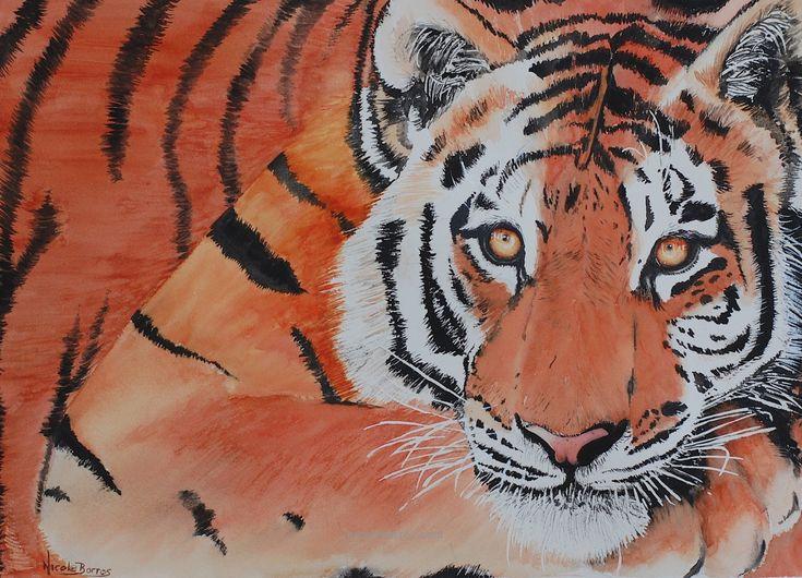 "CLEARANCE Original Watercolour painting, Wildlife Tiger painting , Animal Art, Home Decor 20"" x 15"" Animal Painting, Large painting, Tiger l - pinned by pin4etsy.com"