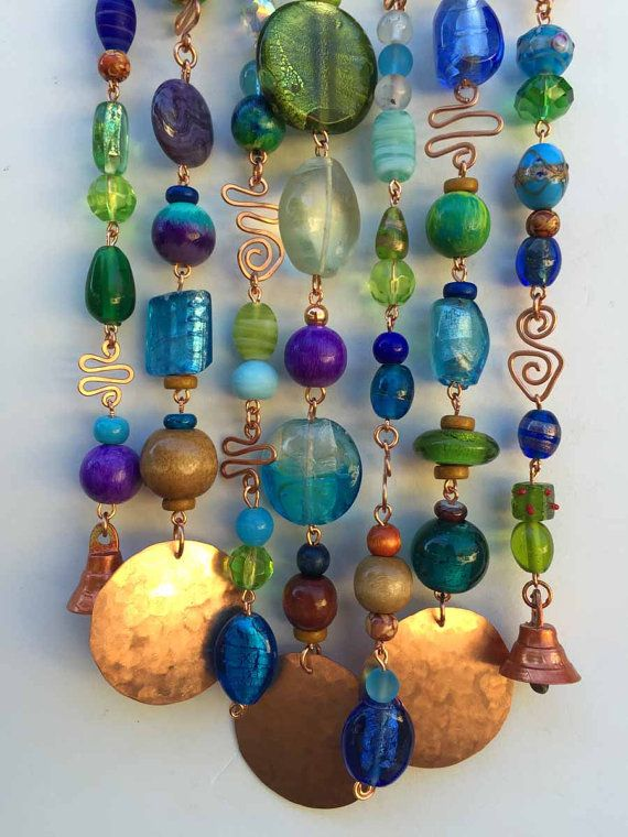 Glass Beaded Wind Chime with Copper and Bells --  Super Gift