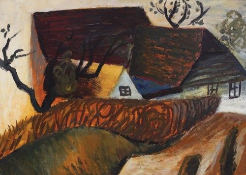 Poiana Mărului [1963] HORIA BERNEA 1938, Bucharest - 2000, Paris oil on cardboard, 49 × 68 cm, signed and dated on the right side, Horia Bernea, III 1963 Valoare estimativă: € 2.500 - 3.500 Conservation status: for further technical details, do not hesitate to contact loredana.codau@artmark.ro