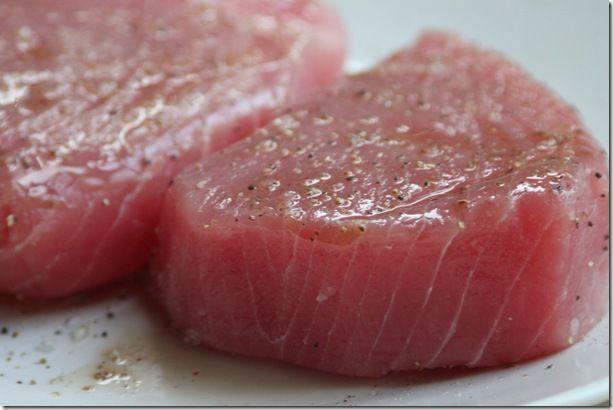 a recipe for seared ahi tuna and asian slaw