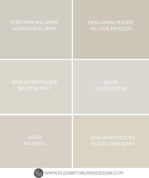 Elizabeth Burns Design | Greige Paint Colors - the perfect warm gray paint colors: Sherwin Williams Agreeable Gray, Benjamin Moore Revere Pewter, Benjamin Moore Balboa Mist, Behr Silver Drop, Behr Mineral, Benjamin Moore Edgecomb Gray
