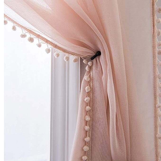 Selectex Linen Look Pom Pom Tasseled Sheer Curtains Rod Pocket