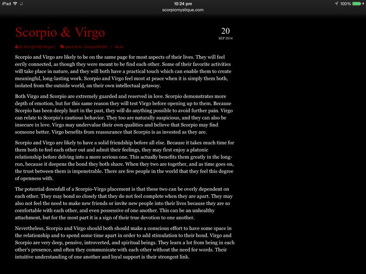 Freakishly accurate... Scorpio & Virgo compatibility. Perfect ❤️