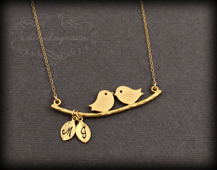 the love birds gold love bird necklace two initial lovebirds personalized his and her